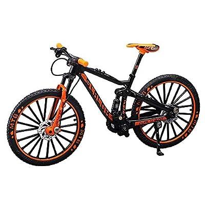 YEIBOBO Alloy Mini Downhill Mountain Bike Toy, Die-cast BMX Finger Bike Model for Collections (Black/Orange)