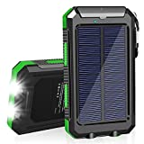 Solar Charger, 20000mAh Portable Solar Power Bank for Cell Phone, Dual 5V/2.1A USB Ports Output and 2 LED Flashlight, Perfect for Outdoor | Camping | Hiking | Trip | Emergency