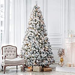 cheap Another 7.5ft prelighted Christmas tree snow, realistic feel, 500 warm light bulbs, foldable cones …