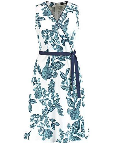 Taifun Damen ärmelloses Sommerkleid Tailliert Offwhite Gemustert 38