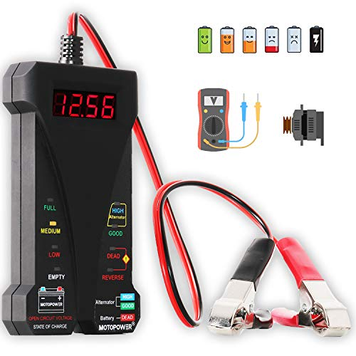 MOTOPOWER MP0514A 12V Digital Car Battery Tester Voltmeter and Charging System Analyzer with LCD...