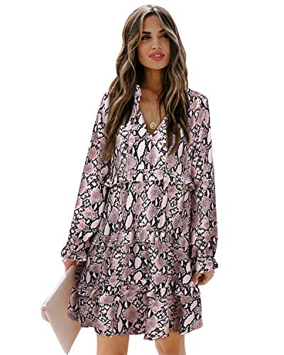 SOLERSUN Loose Swing Dresses for Women,Women's Casual Tunic T Shirt Dress Long Sleeve Cute V Neck Tiered Ruffles Loose Flowy Swing Babydoll Mini Shift Dresses Snake Print M