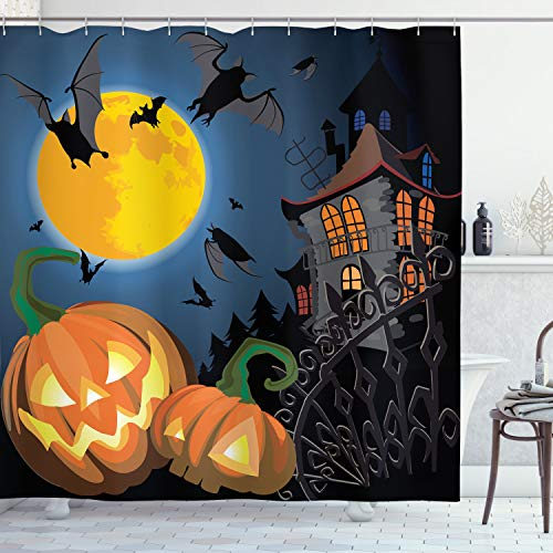 Halloween Bathroom Shower Curtain Haunted House with Pumpkins