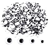 Upins 1000 Pcs Black Wiggle Googly Eyes with Self-Adhesive, 6mm 8mm 10 mm 12mm Mixed Packaging