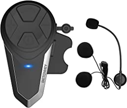Intercomunicador Casco Moto, BETOWEY BT-S3 Bluetooth Auriculares Manos Libres para Casco Moto (1*BT-S3)