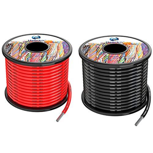 3.3 mm² Cable eléctrico de silicona de 20Metros [negro 10M rojo 10M] 12awg de cables de conexión Cable de cobre estañado trenzado sin oxígeno Resistencia a altas temperaturas