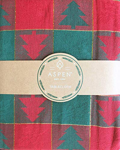 Aspen Home Tablecloth Woodblock Style Christmas Trees on a Red and Green Checked Background with Gold Stripes, 60 Inches x 84 Inches
