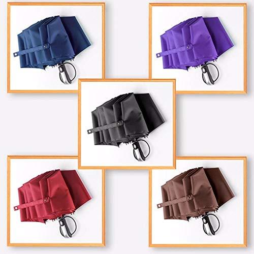 Hogar Cocina Accesorios Paraguas Sun-Rain Completamente Automático Paraguas Plegable Triple Paraguas De Negocios De 10 Costillas Hombres Mujeres Paraguas Reforzado Estilo Minimalista, Rojo Vino, Chin