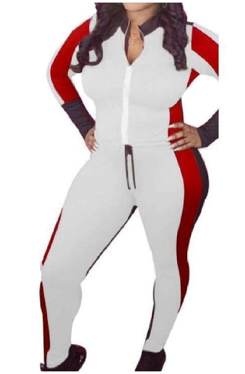 層公平起きている女性スポーツカジュアルヒットカラーフルジップ