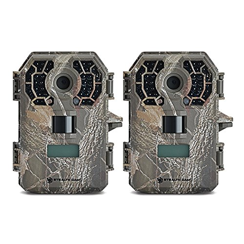Stealth Cam Weatherproof 10MP HD Video Infrared No Glow Hunting Scouting Game Trail Camera w/Nighttime Range & Under 0.5s Reflex Trigger Time, 2 Pack