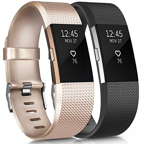 Fitbit Charge 2 Correas Tobfit Fitbit Charge 2 Correa de Muñeca Ajustable de Repuesto Accesorio Deporte Pulsera para Fitbit Charge 2 (2-Pack Champagne Gold+Black, Small)