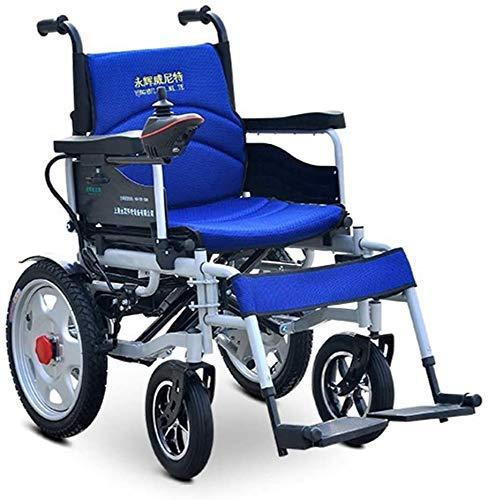 SEESEE.U Plegable Plegable Power Compacto Mobility Aid Wheel Chair, Silla de Ruedas eléctrica Ligera y Plegable, Silla de Ruedas motorizada, Silla de Ruedas Potente con Motor Doble, Rojo