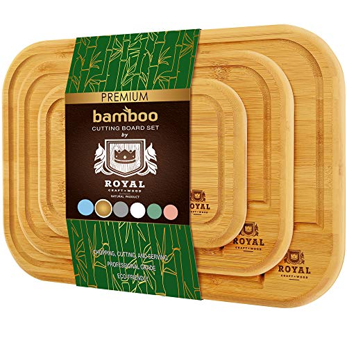 Organic Bamboo Cutting Board with Juice Groove (3-Piece Set) - Best Kitchen Chopping Board for Meat (Butcher Block) Cheese and Vegetables ( Rounded)