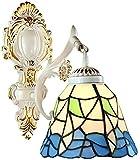 Lámpara industrial, Tiffany Mediterráneo Estilo de pared Lámpara de luz Retro Mosaico Europeo Forma irregular Forma pintada Lámpara de cristal E27 Proceso de hierro forjado ,Decoración del hogar