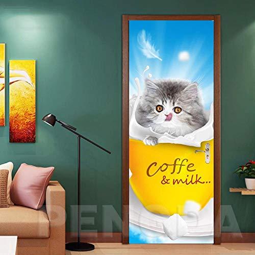 ZOOINB Türtapete Selbstklebend Türposter 3D Tierkatze Milch Kaffeetasse Fototapete Türfolie Poster Tapete Wandaufkleber Wandbild Tapete DIY Wohnzimmer Kinderzimmer Badezimmer Dekoration,86X200Cm