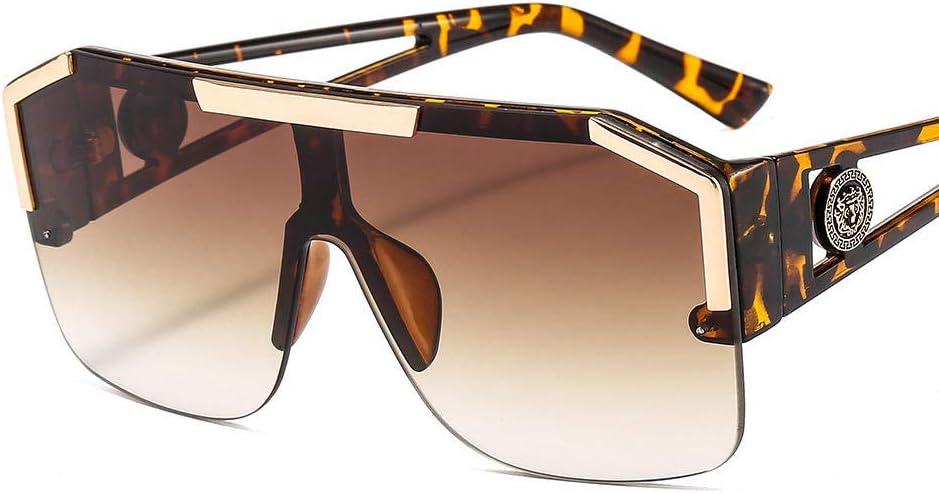 LONG Lunettes de Soleil à lentille carrée surdimensionnée Hommes Femmes Fashion Shades UV400 Lunettes Vintage C3leopard