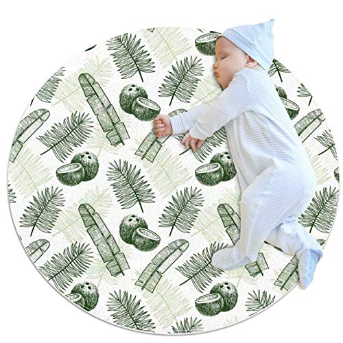 HDFGD Alfombra redonda antideslizante niños círculo alfombra circular alfombra lavable a máquina, hojas de palma tropical fruta verde oscuro dibujado