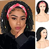 Aisaide Dreadlock Wig Headband Wigs for Black Women Braided Wigs Faux Locs Crochet Hair Wigs Short Wigs Ice Silk Headband Curly Hair Wig Black Wigs with Headband Attached Scarf Wigs Synthetic Short Twist Senegalese Wigs Turban Wig 14 Inch