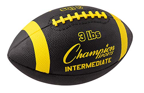 Champion Sports Intermediate Size 3lb Weighted Training Football, Yellow/Black