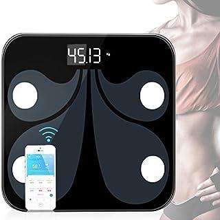 Báscula digital de peso, báscula de baño con amplia plataforma de vidrio templado para el cuerpo con tecnología paso a paso, pantalla de luz de fondo, color negro