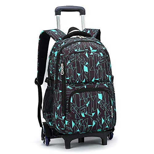 FREETT Student Trolley Backpack, Child Trolley Bag with Wheeled and Laptop Compartment, Trolley Suitcase for Boy University, 32 * 18 * 49 cm,Brown