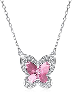 Crystal Necklace Sterling Silver S925 Bow Women's Necklace (Color : Blue) Girls Necklace (Color : Pink)