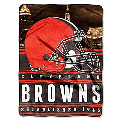 """Officially Licensed NFL Cleveland Browns """"Stacked"""" Silk Touch Throw Blanket, 60"""" x 80"""", Multi Color"""