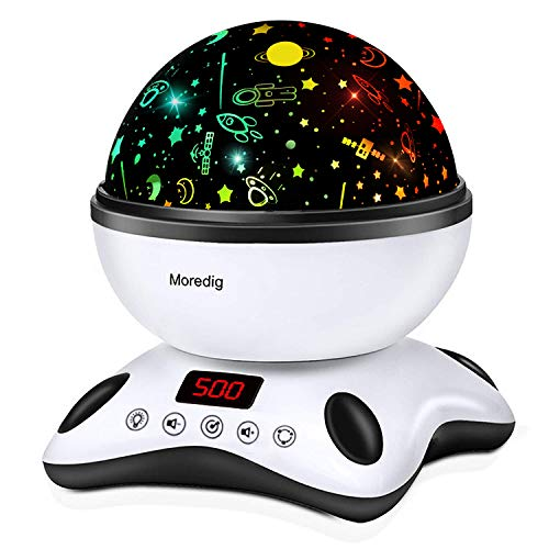 Moredig - Proiettore Stelle Bambini, 360° Rotazione Musicale Proiettore Lampada con lo Schermo a...