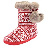 Autumn Faith Ladies Red Knitted Fairisle Lined Bootie Slippers with Faux Fur Pompoms - UK 5