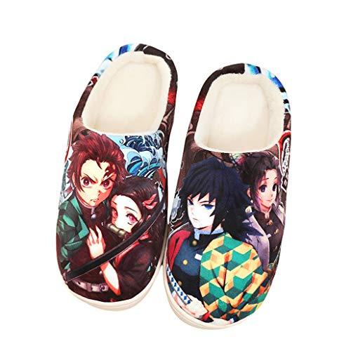 Gumstyle Demon Slayer Kimetsu no Yaiba Style Anti-slip House Slippers Winter Plush Warm Indoor Shoes