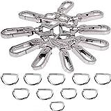 Jakago 20 pezzi anelli a D e ganci girevoli in metallo da 2,5 cm per borse e bagagli, portachiavi