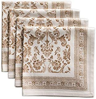 Maison d' Hermine Allure 100% Cotton Set of 4 Napkins 20 Inch by 20 Inch. Perfect for Thanksgiving and Christmas