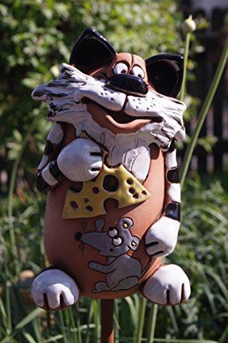 Keramik Katze mit Maus und Käse Garten Beet Handarbeit Dekofigur Gartenstecker