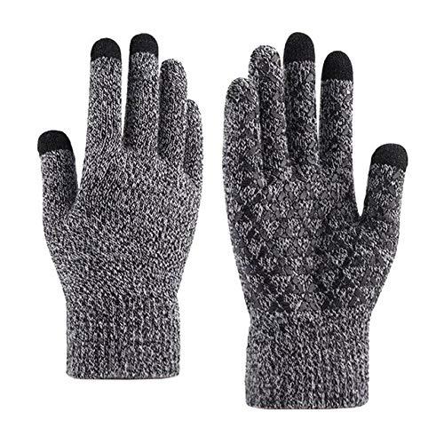 IAMZHL Warme Winterhandschuhe für Herren und Damen Fahren Winddicht Rutschfester Touchscreen Gestrickt Plus Samthandschuhe-Black white-2-b10