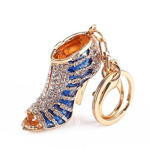 Yosoo Rhinestone High Heel Shoe Decoration Keychain Multicolor Enamel Key Chain Car Key Ring Charm Gift for Women Phone Key Bag (Blue)