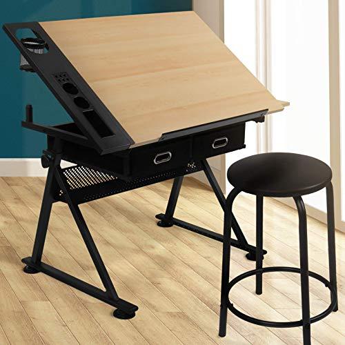 Zeichentisch mit 2 Arbeitsflächen - höhenverstellbar, neigbare Tischplatte, inkl. Hocker und 2 Schubladen, Holzoptik Schwarz - Schreibtisch, Architektentisch, Bürotisch für Architekten und Techniker