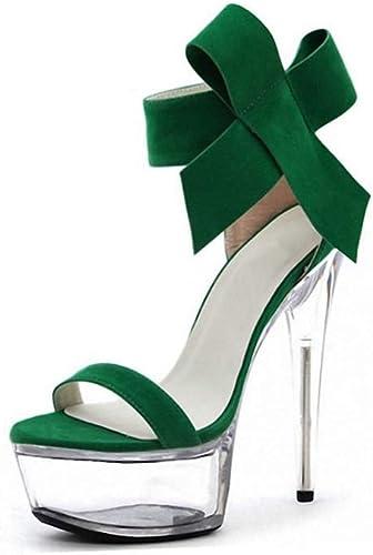 DUQI22 damen Transparent Ankle Strap Open Toe Stiletto High Heel Platform Party schuhe Tamaño Boda Noche,Grün,44EU