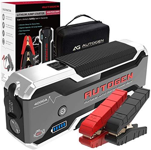 AUTOGEN Avviatore Batteria Auto, 4000A Avviatore Emergenza (10.0L + Benzina e Diesel), avviatore Booster Portatile per Auto, SUV e Camion con batterie al Litio 12V. Potente Power Bank con QC3.0