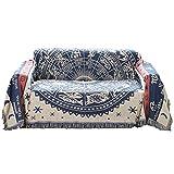 [モデルノ ラ テール]コットン 素材 130cm×180cm ベッド ソファー マルチ カバー テーブル クロス フリンジ 付き ラグ カーペット マット エスニック ML-CMC 白 黒 (十二星座ブルー)