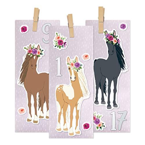 Papierdrachen DIY Adventskalender zum Befüllen - Pferde mit Blumenkranz zum Aufkleben - mit 24 lila bedruckten Papiertüten und tollen Stickern für Kinder - Weihnachten