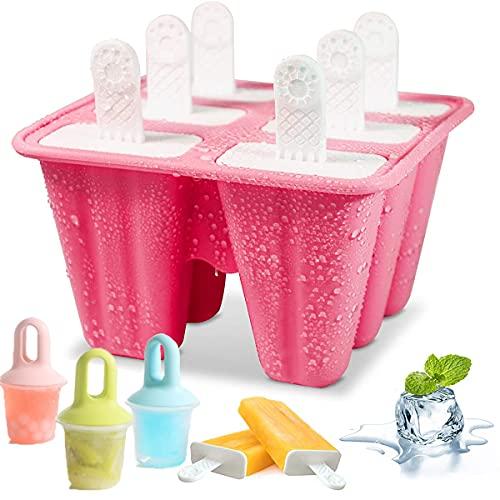 Mengger 3Pcs Molde para Helados de silicona paletas chocolate hielo moldes para polos y helados bebes Reutilizables Ice Cream Lolly Moulds Hacer Helados Caseros,Sin BPA Con 100Pcs bolsa de helado