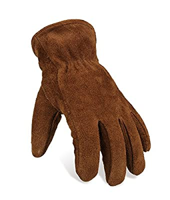 OZERO Snow Gloves Cold Proof Leather Winter Insulated Work Glove Thick Thermal Imitation Lambswool - Extra Grip, Flexible and Warm for Working in Cold Weather for Men and Women (Brown,X-Large)