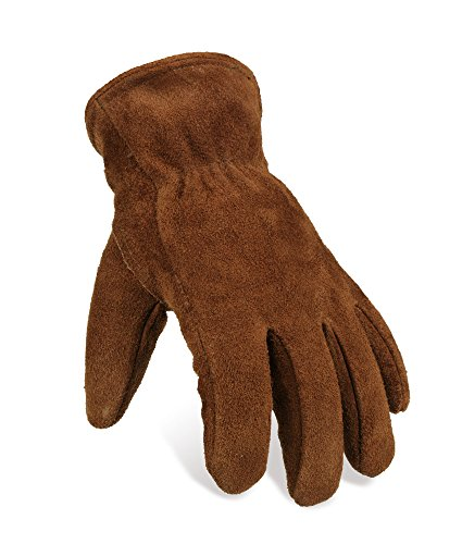 OZERO Work Gloves Winter Insulated Snow Cold Proof Leather Glove Thick Thermal Imitation Lambswool - Extra Grip Flexible Warm for Working in Cold Weather for Men and Women (Brown,Large)