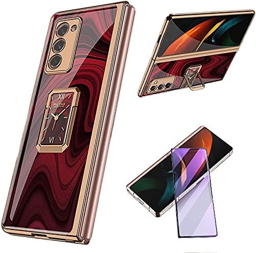 XJZ Compatible para Samsung Galaxy Z Fold 2-5G Carcasa(2020) Funda+3D Vidrio Templado Protector de Pantalla/Caja Skin Hard Silicona Cojín Antigolpes Caso Bumper 360° Giratorio Anillo Soporte Funda-12