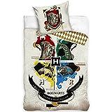 BERONAGE Harry Potter - Juego de cama reversible Houses 135 x 200 + 80 x 80 cm, 100% algodón renforcé, calidad HP Slytherin Gryffindor Hufflepuff Ravenclaw Hogwarts con cremallera, tamaño alemán 147