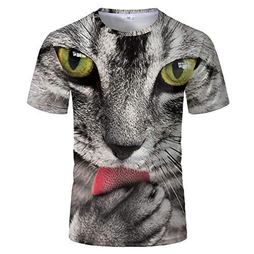 Camiseta 3D para Hombre con Estampado Informal De Verano Y Otoño,Camiseta para Adultos,Sudadera De Manga Corta,Abrigo Superior,Lindo Gato Animal,S