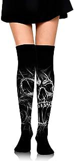 JONINOT, Calcetines de compresión para arriba de la rodilla, calcetines atléticos Crazy Happy