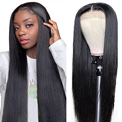 AliBonnie 4x4 Lace Front Wigs Human Hair Straight Lace Closure Wig with Baby Hair 30inch 180% Density Pre Plucked Brazilian Human Hair Wigs
