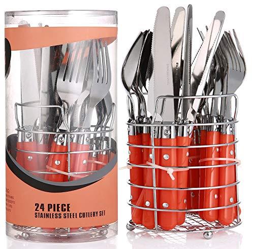 Praknu Besteck Set mit Besteckkorb 6 Personen Orange | 24 teilig | Edelstahl - Spülmaschinenfest | Besteckset Essbesteck mit Ständer