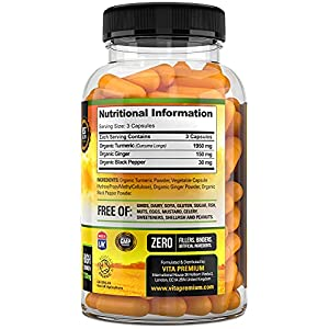 Organic Turmeric Curcumin 2130mg with Ginger and Black Pepper - High Strength Supplement - 120 Vegan Capsules - Soil Association Certified